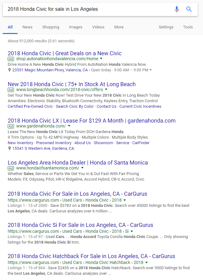 "Long tail Google search for ""2018 Honda Civic for sale in Los Angeles"""