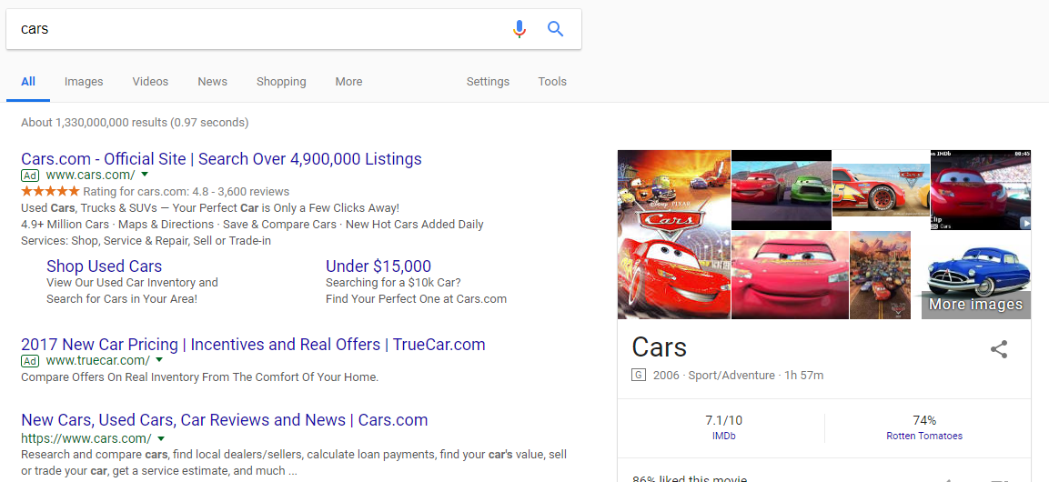 "An example of a short-tail keyword Google search ""cars"""