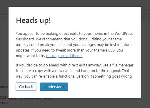 Heads up WordPress editor notification