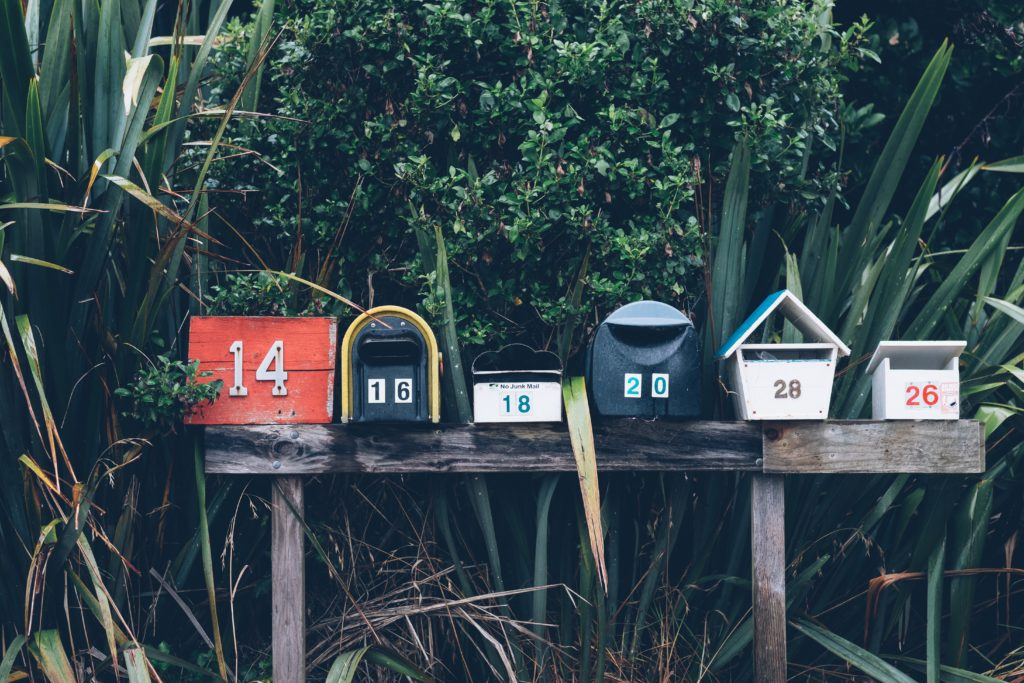Mailboxes and plants