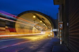 road with fast moving lights