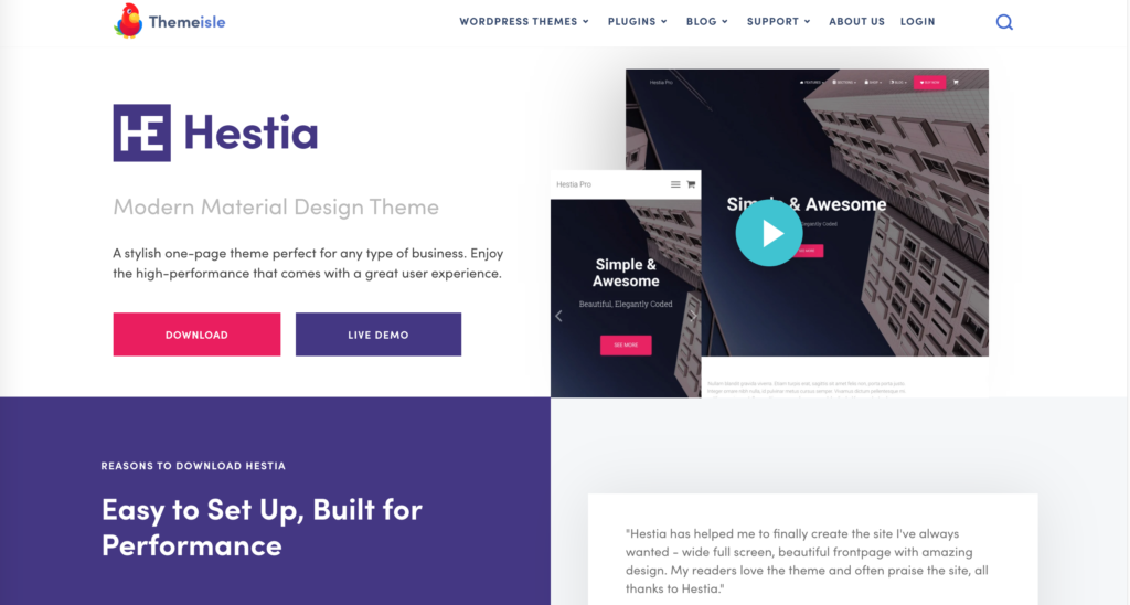 Hestia mobile wordpress theme website main page