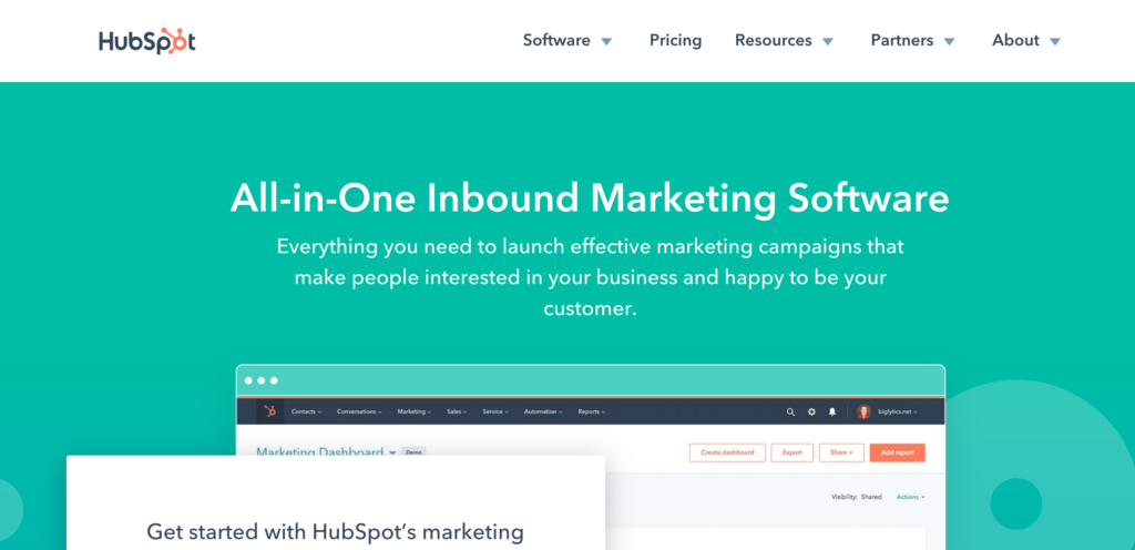 Hubspot landing page for marketing software