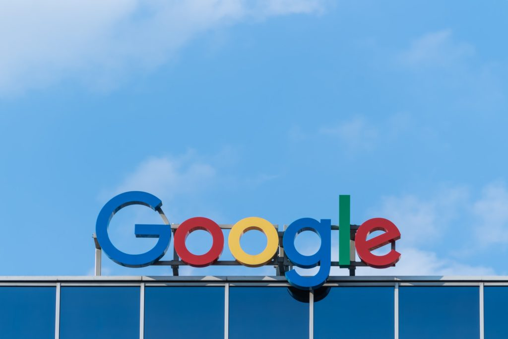 google logo sign on top of building