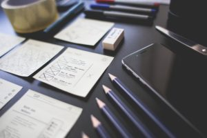 Web design layout with pencils