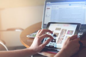 shopping online using a tablet